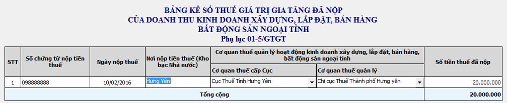 Phụ lục PL01-5-GTGT - Kê khai thuế GTGT vãng lai ngoại tỉnh